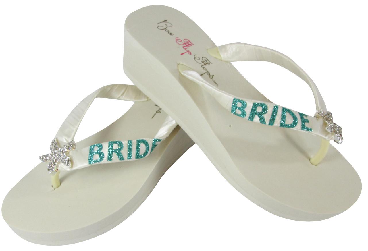 f3fcaa8aa31 Jade Glitter Starfish Bride Flip Flops