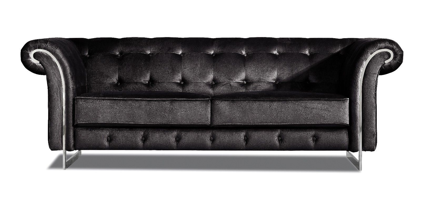 Meridian 626 Black Velvet Living Room Sofa Contemporary Style