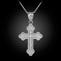 White Gold Russian Eastern Orthodox Cross Pendant Necklace - $69.99+