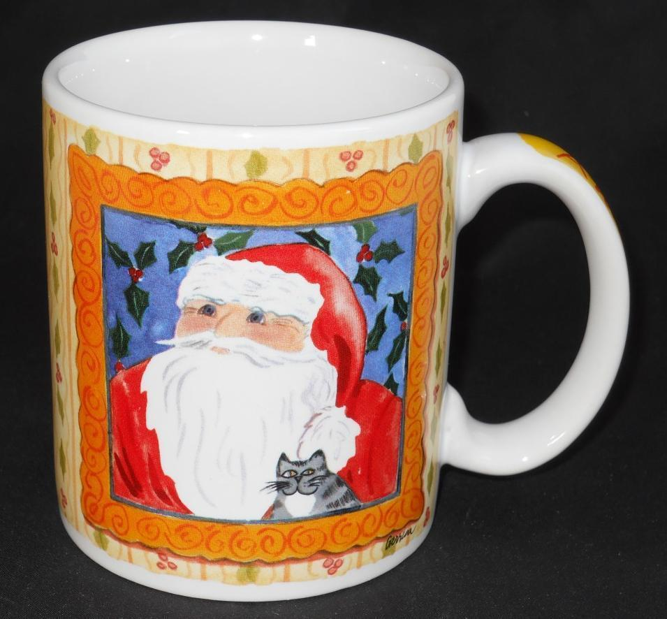Primary image for Cypress Anticipation Christmas Santa Claus Coffee Cup Mug  Gerrica Connolly Cat