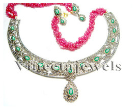 Victorian Inspir. 4.33Ct. Rose Cut Diamond Silver Antique Necklace Set - $1,081.96