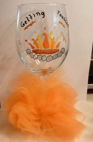 Getting Toasted Wine Goblet Hand Painted Glass Gifts Barware Fall Marshmallow