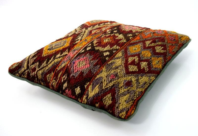 Vtg Chunky Wool Kilim Knit Southwestern Indian Style Sq Pillow Sham Cover 11