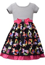 Little Girls 2T-6X Stripe Knit to Fox Print Poplin Fit Flare Dress