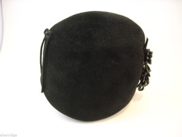 Deluxe Vintage Velour brand Ladies' Hat black with beaded decoration