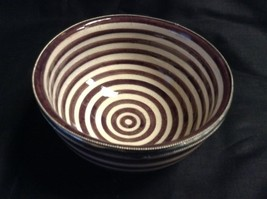 Moroccan Ceramic Small Dessert Bowl Silver Metal Trim Brown & White Stripes - $282,17 MXN