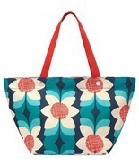 Fossil Teal Floral Nylon Key Per East West Tote... - $82.11