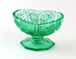 John E. Kemple Glass Green Pedestal Candy Dish with Sawtooth Edge - $15.83
