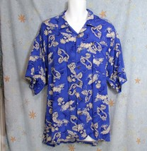 New Sz 3X B Pineapple Connection Mens Blue Gray White Hawaiian Style Rayon Shirt - $12.99