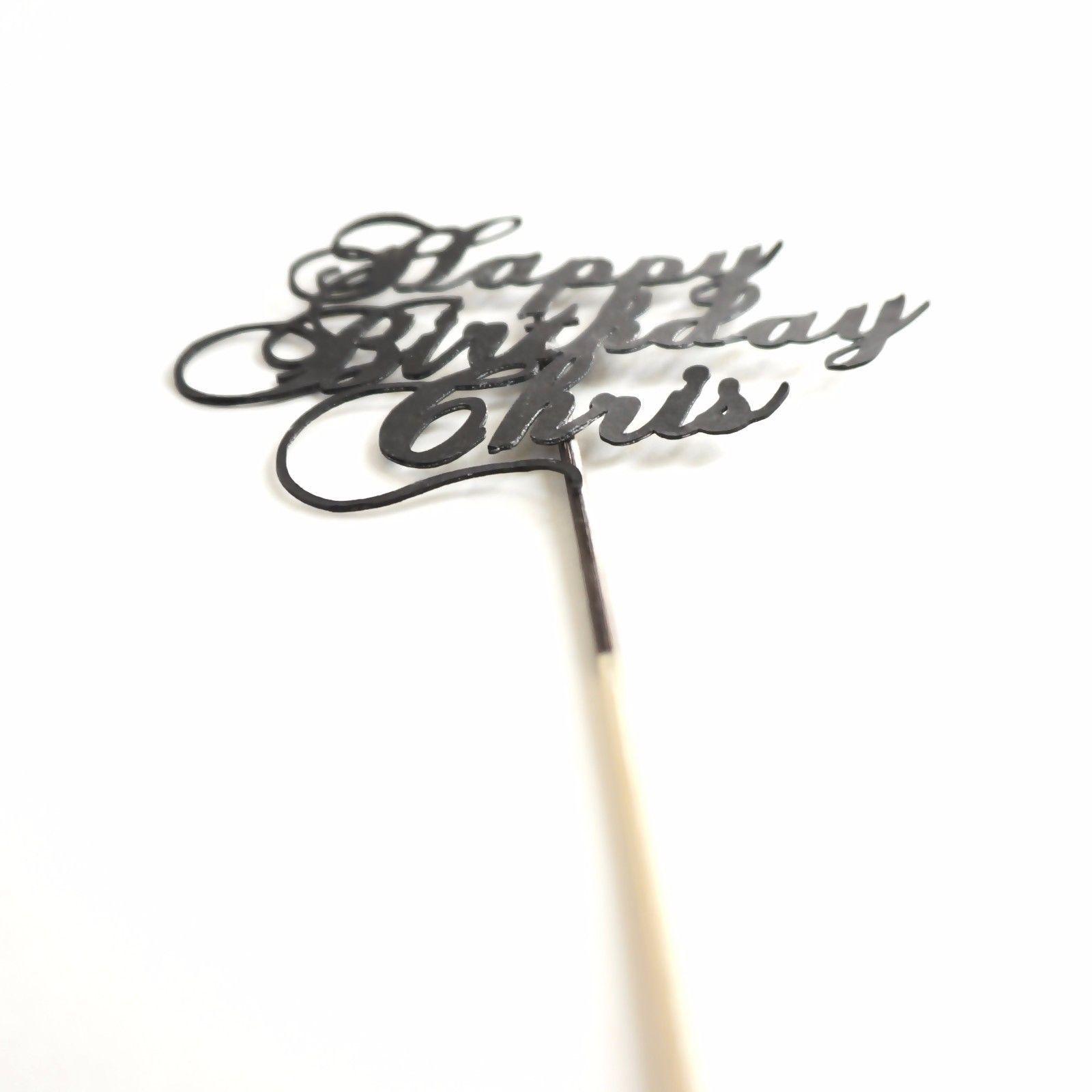 Custom Black Happy Birthday Cake Topper, Cursive