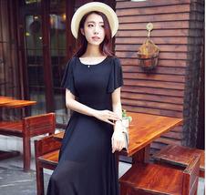 PF078 Sexy sweet long chiffon blouse , great swing trim, Size s-2xl,black - $28.80