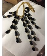 "Grandmas Estate Heavy Black Glass Drape Necklace 23"" (Mia) - $16.63"