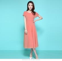 PF078 Sexy sweet long chiffon blouse , great swing trim,Size s-2xl,waterleon red - $28.80