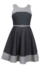 Little Girls 2T-6X Grey Belted Colorblock Knit Chambray Fit Flare Dress