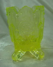 Fan & Feather Canary Yellow Vaseline Glass Toothpick Holder - $16.36