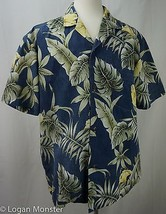 Royal Creations XL Extra Large Shirt Blue Reverse Print Flowers Made in ... - $24.69