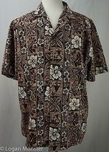 Royal Creations XL Extra Large Shirt Brown Flowers Made in Hawaii - $29.64