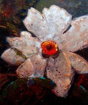Big white flower original acrylic painting on c... - $595.00