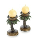 Palm Tree Candleholder Pair (Out Of Stock) - £13.04 GBP