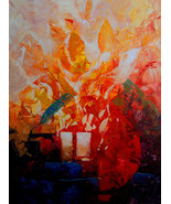 """Heart Fire by Kanayo Ede. Original Abstract Painting on Canvas 18"""" x 24"""" - $850.00"""