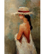 """Straw Hat Red Band by Kanayo Ede. Oil painting On Canvas. 24"""" x 36"""" - $995.00"""