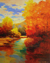 16x20in Art print Mounted on wood. Amber trees - $115.00