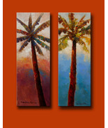 "Miami Palms by Kanayo Ede. Pair of Paintings (2) on Canvas 14"" x 40"" each. - $1,595.00"