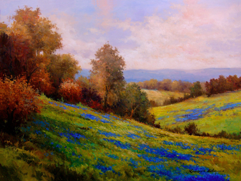Large blue bonnets original landscape oil painting 30x40 for Oil painting scenery