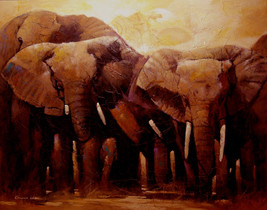 24inx30in hand embellished African Bull Elephan... - $250.00