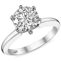 1.5CT Unique 14K WG Forever Brilliant Moissanite Solitaire Engagement Ring 6Pron - £803.94 GBP
