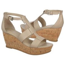 Franco Sarto Falco Womens Grey Leather Platform Wedges Sandals Shoes 11 - $47.99