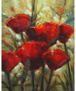 "Red Poppy Flower giclee print on canvas. 16"" x 20"" - $95.00+"