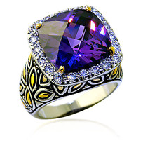 16.46CT Unique Women's Antique Cushion Cut Amethyst Ring 18K Gold Plated... - $157.41