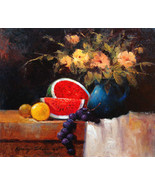 "Blue Vase with Watermelon By Kanayo Ede. 20"" x 24"" - $950.00"