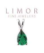 2CT Women's 14K White Gold Genuine Pear Shape Emerald Pendant Basket Set... - $127.71