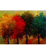 "Four seasons trees by Kanayo Ede. Giclee print on canvas. 22"" x 30"" - $190.00+"