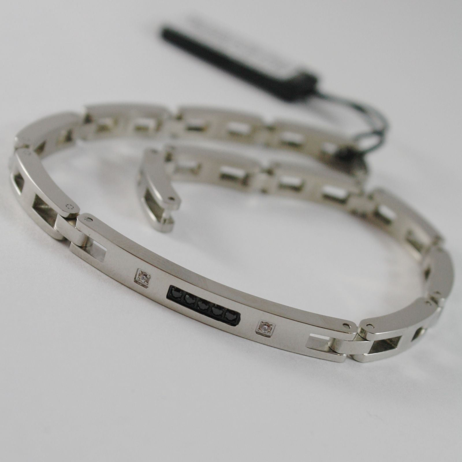 STAINLESS STEEL ZANCAN BRACELET, SQUARE MESH PLATE BLACK & WHITE CUBIC ZIRCONIA