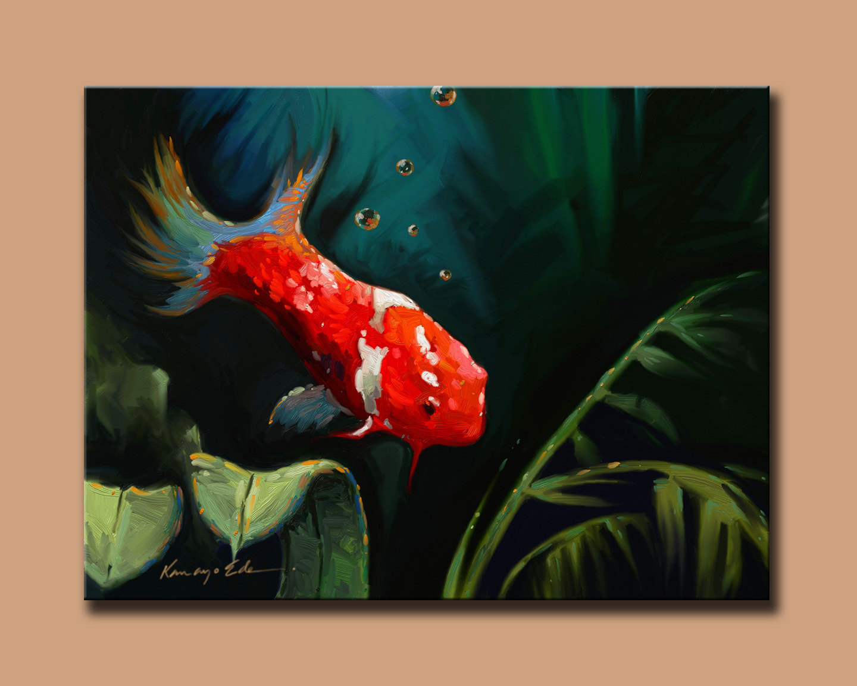 Koi 30 x 40 hand embellished print on canvas art prints for Koi canvas print