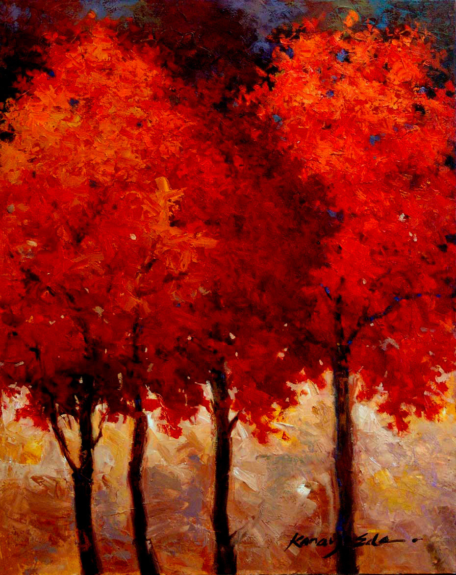 "Primary image for Crimson Trees by Kanayo Ede. Giclee print on canvas. 24"" x 30"""