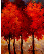 "Crimson Trees by Kanayo Ede. Giclee print on canvas. 24"" x 30"" - $190.00+"
