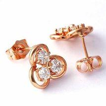 Beautiful Rose Gp Studs Whth Cz Crystals - $2.55