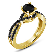 Solitaire With Accents Ring Round Cut Black CZ 14k Yellow Gold Plated 92... - $78.99