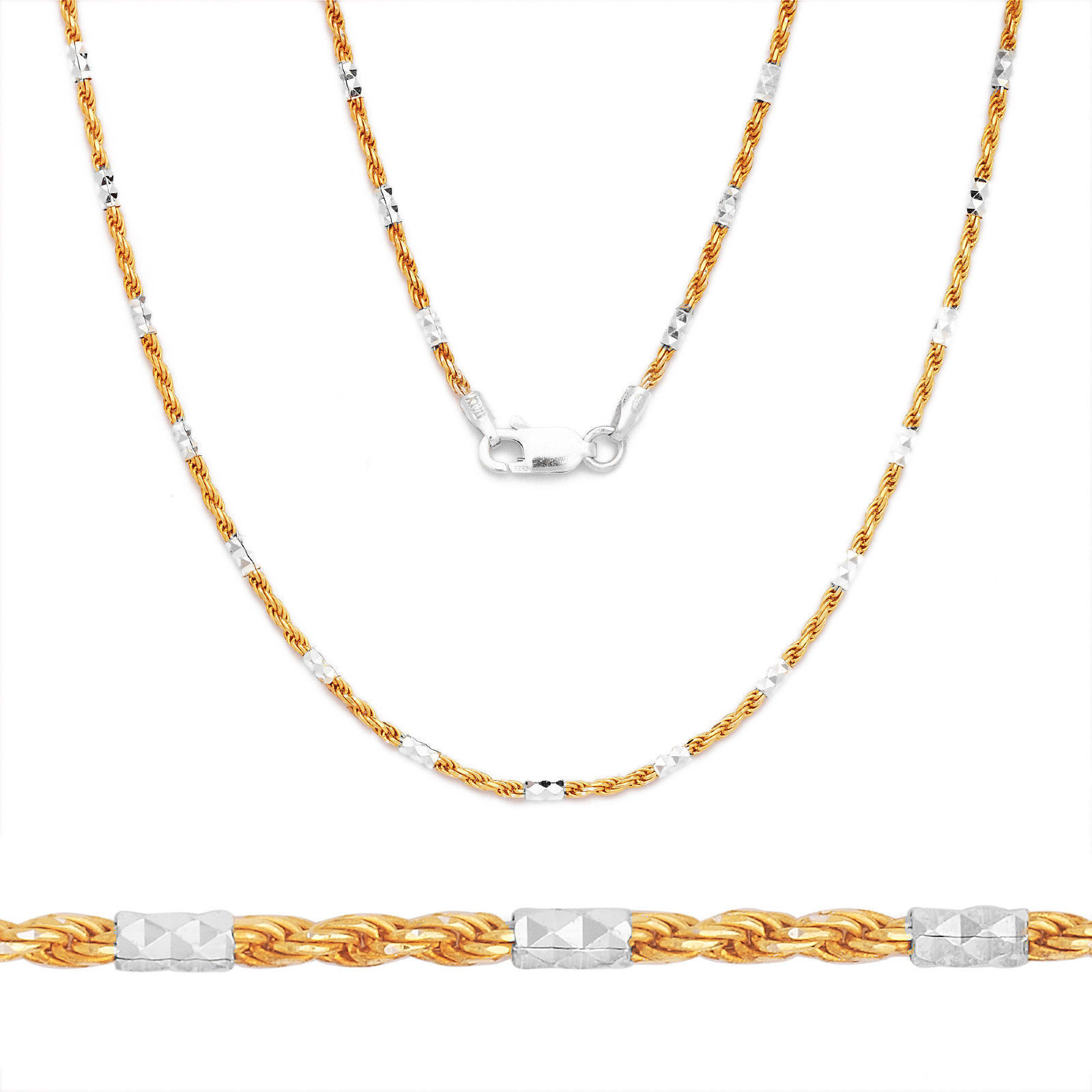 Sterling Silver 14k Yellow Gold Bead Bar Diamond Cut Link Chain Rope Necklace