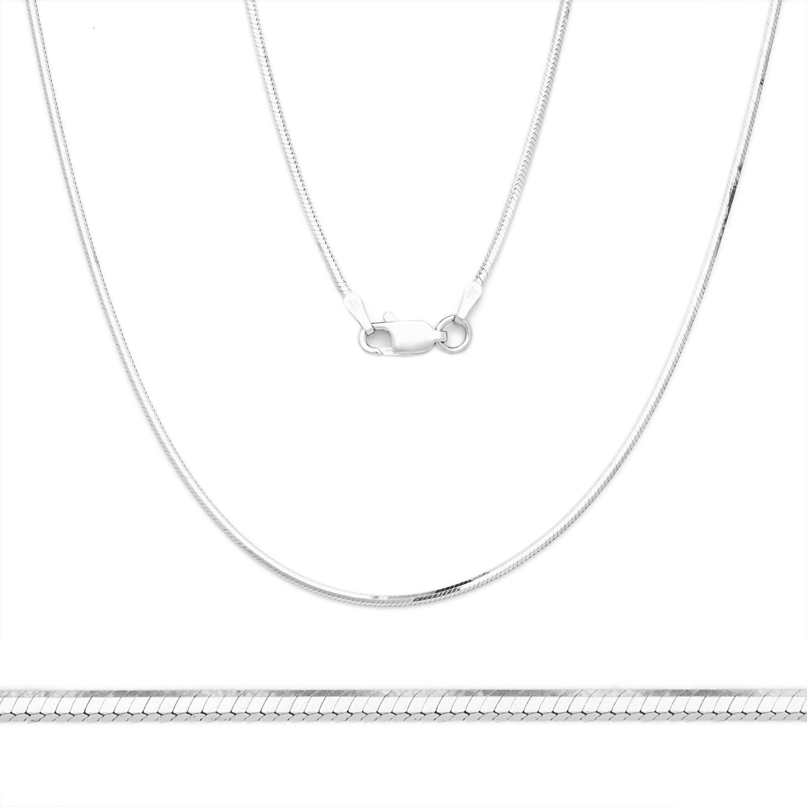 Unique Stylish 14K WG 925 Silver Snake Link Italian Chain Necklace 1.2mm
