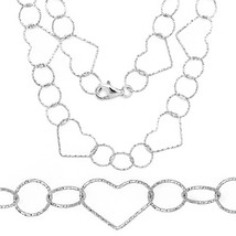 Unique Stylish 925 Silver 14k WG Heart & Circle Charm Link Chain Italian... - $65.44+
