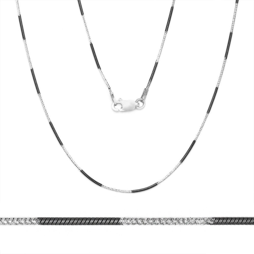 Unique Stylish Italy 925 Silver Black Rhodium Snake Link Italian Chain 1.1mm