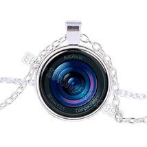 Beautiful Camera Iris Glass Cabochon Pendant Necklace - $3.00
