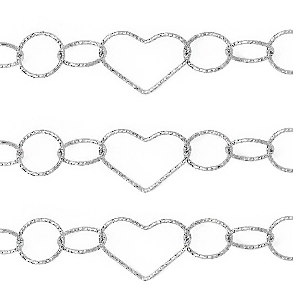 Unique Stylish 925 Silver 14k WG Heart & Circle Charm Link Chain Italian 15MM