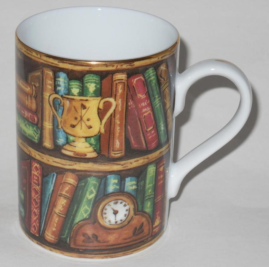 Primary image for Edwardian Library ~ Porcelain ~ Coffee Cup Mug ~ Books Clock ~ Made In Japan