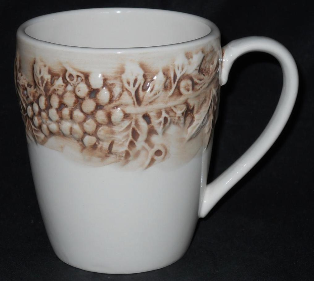 Primary image for Euro Ceramica ~ Vineyard ~ Beige Coffee Cup Mug ~ Grape Vine Grapevine Harvest